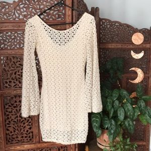 Free people ivory lace bodycon dress